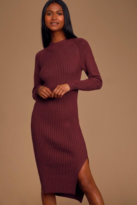 Snuggle Party Heather Burgundy Mock Neck Midi Sweater Dress