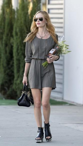 kate bosworth dress bag green dress sandals sunglasses