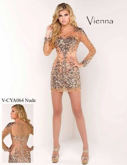 dress nude dress prom dress homecoming dress glitter dress diamond dress nude sequins