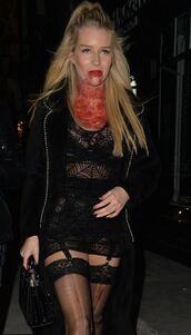 dress,mesh,lace dress,black dress,black,tights,lottie moss,halloween costume,halloween,halloween makeup