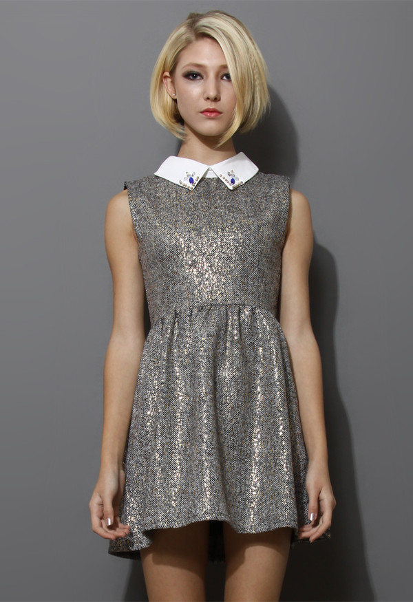 dress sleeveless tweed decored collar