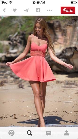 dress pink peach lace skater dress