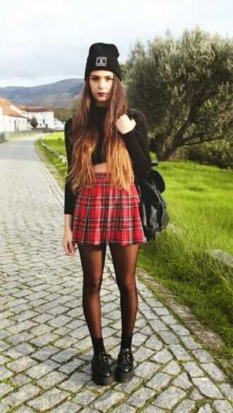 skirt beanie plaid skirt tartan skirt high waisted skirt