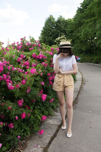 shorts hat tumblr gingham yellow shirt white shirt sun hat flats ballet flats