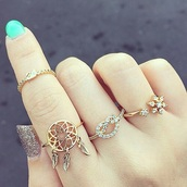 jewels,ring,dreamcatcher,gold,gold ring,girly,rings and tings,snowflake,style,accessories,pretzel,jewelry,bling,dreamcatcher ring,boho,boho jewelry,mint,jeans,nails,nail polish,bohemian,knuckle ring