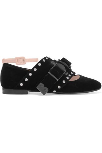 No. 21 - Buckled Velvet Ballet Flats - Black