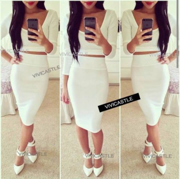 bandage dress crop tops high waisted tumblr outfit cocaine white