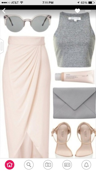 skirt maxi skirt pastel pink