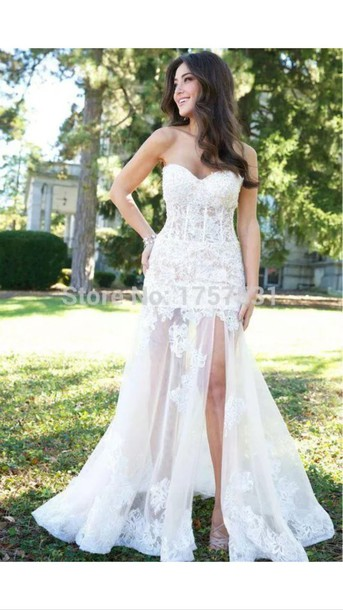 Dress slit dress white dress wedding dress lace long for Tight fitting wedding dresses
