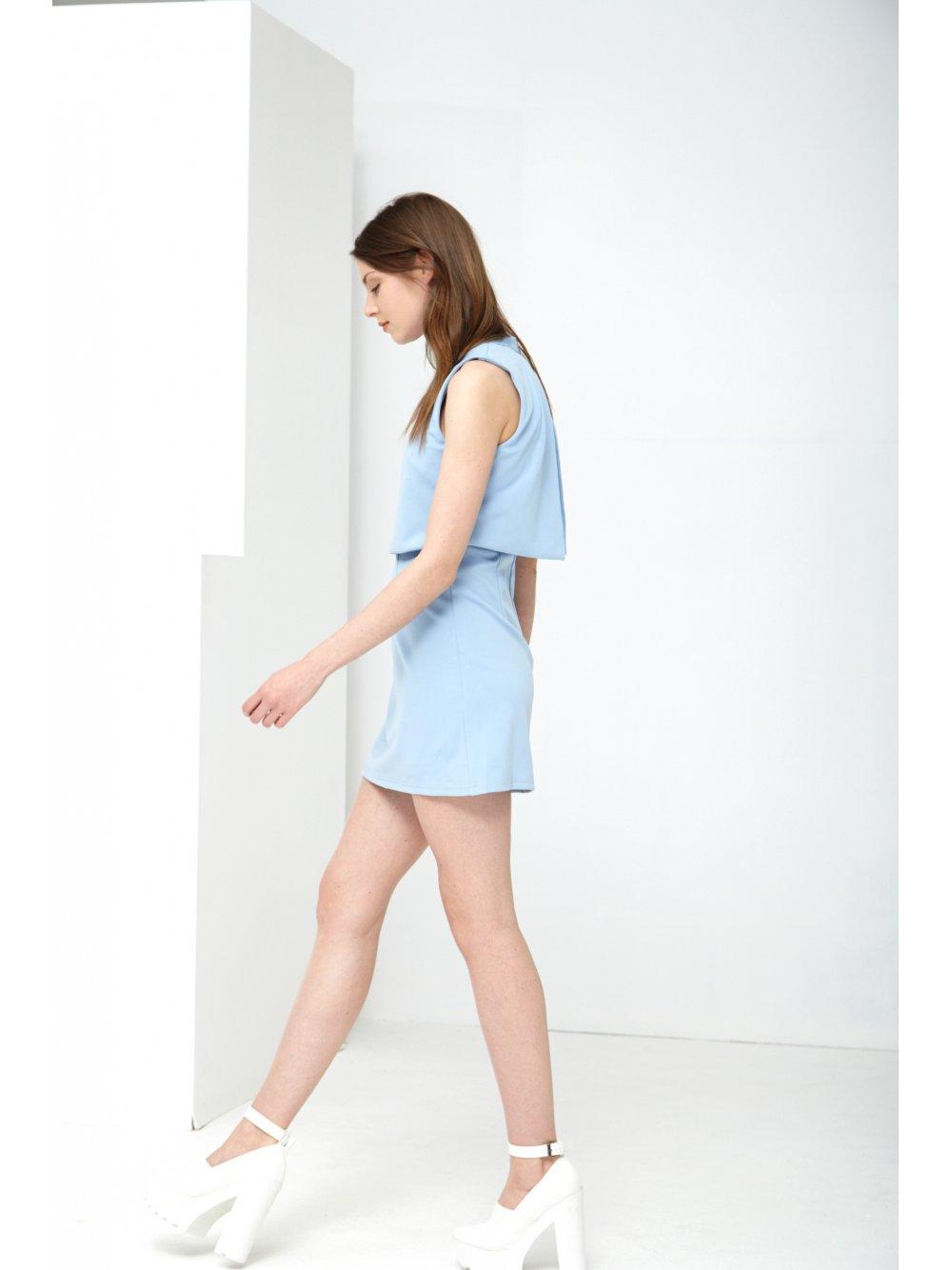Powder Blue Cropped Mini Dress - from Lavish Alice UK