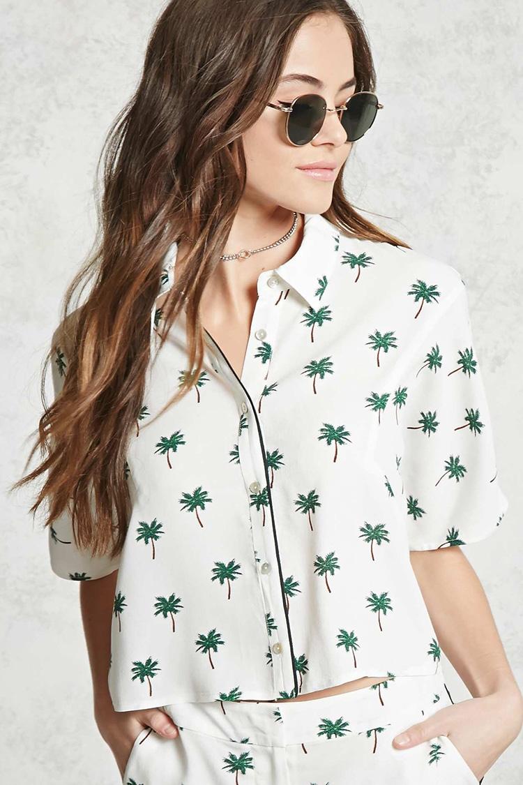Palm Tree Print Pajama Shirt