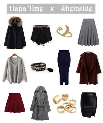 hapa time blogger coat shorts jewels skirt sweater