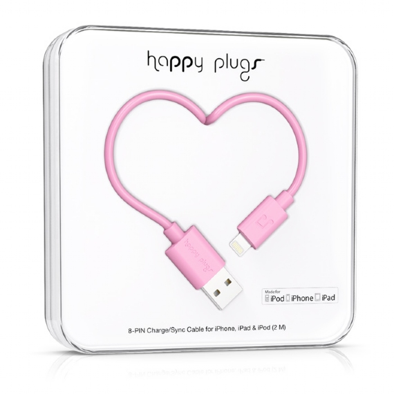 Colorful pink USB to Lightning cable from Happy Plugs
