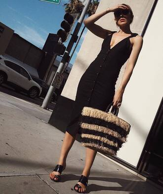 dress tumblr black midi dress midi dress slip dress button up bag sandals sandal heels high heel sandals basket bag shoes