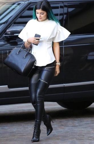 kylie jenner black leggings zips leather leggings