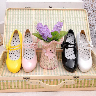 shoes yellow pink white kawaii bow girly cute heels black strappy platform shoes polka dots