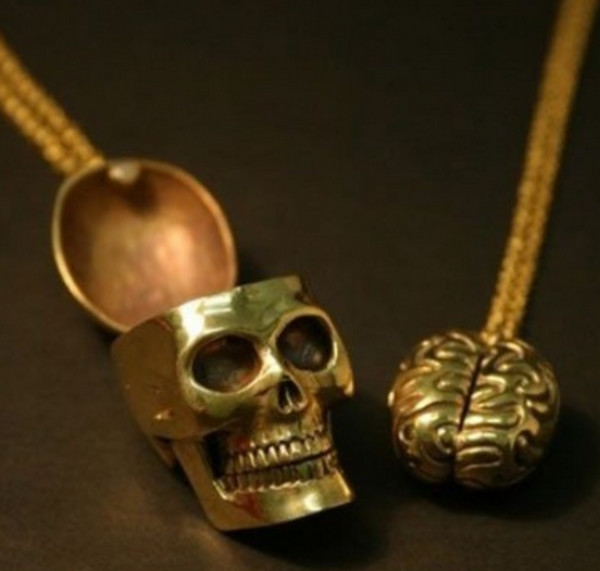 jewels goth skull necklace gold gothic lolita hipster sweet nice science