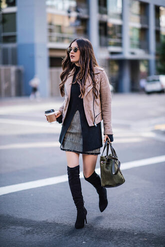 skirt tumblr mini skirt grey skirt sweater grey sweater jacket beige jacket suede suede jacket bag green bag boots black boots high heels boots over the knee boots thigh high boots sunglasses round sunglasses coffee