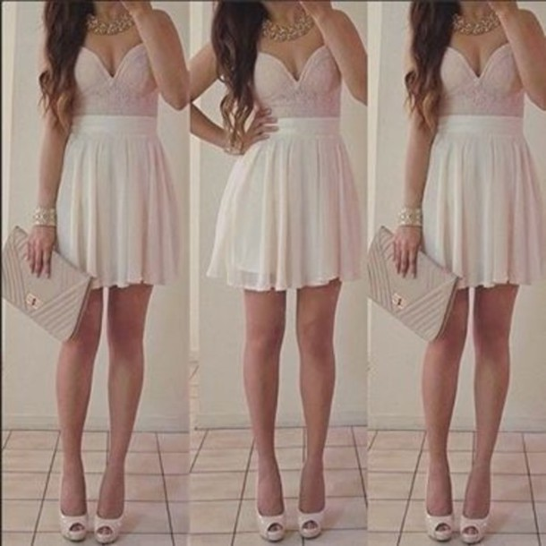 Dress Cute Teenagers Summer Dressy Girly Pink White Style - Wheretoget
