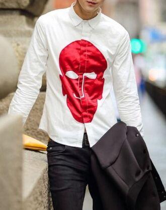 www.ustrendy.com unisex shirt white shirt oxford shirt red mask shirt long sleeve shirt button cuff shirt