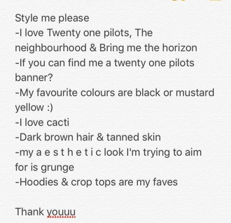 top style me band band t-shirt music band banner music and shirt beanie hoodie crop tops mustard black twenty one pilots the neighbourhood bring me the horizon cacti