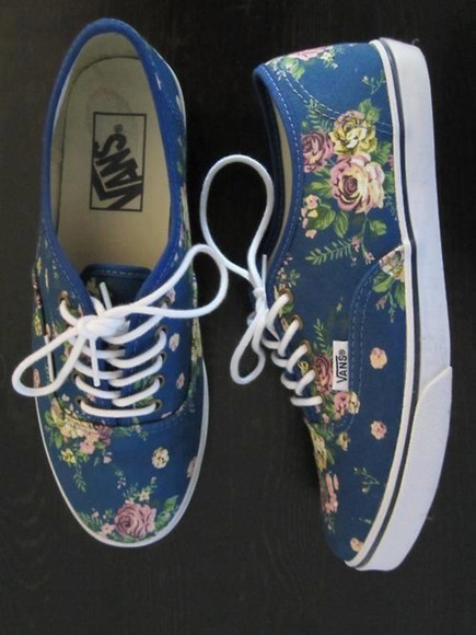 shoes tumblr flat vans boho floral hipster cute flats blue weheartit