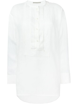 blouse tunic embroidered women white cotton top