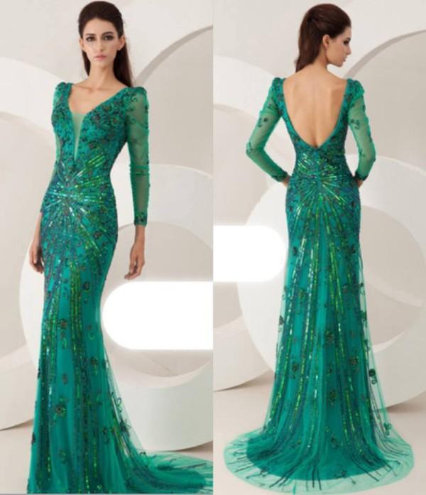 Online Shop 2014 new fashion! Dark green deep V sexy mermaid prom ...