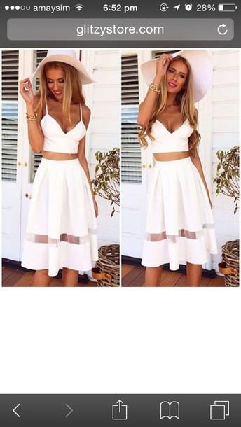 skirt white mesh panel