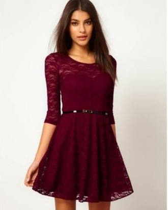 dress rouge bordeaux dentelle dress burgundy dress lace dress