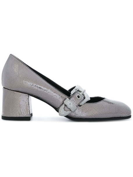 McQ Alexander McQueen women pumps leather grey metallic shoes