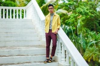 closet freaks blogger mens pants yellow mens jacket jacket shorts pants shoes