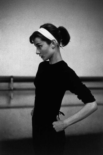 shirt black headband ponytail black and white crewneck long sleeves tight audrey hepburn