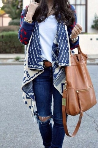 cardigan red and blue tribal cardigan