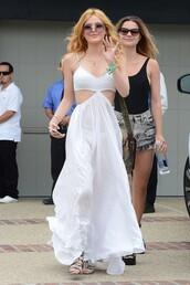 dress,maxi dress,bella thorne,white dress,summer dress,summer outfits,sandals,sunglasses,boho dress,boho
