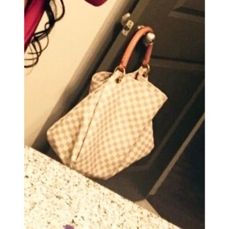 bag white purse checkeredbag creamwhite brownandwhite checkered