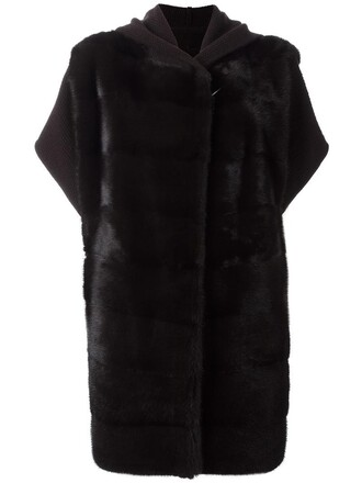 coat cropped fur women wool brown