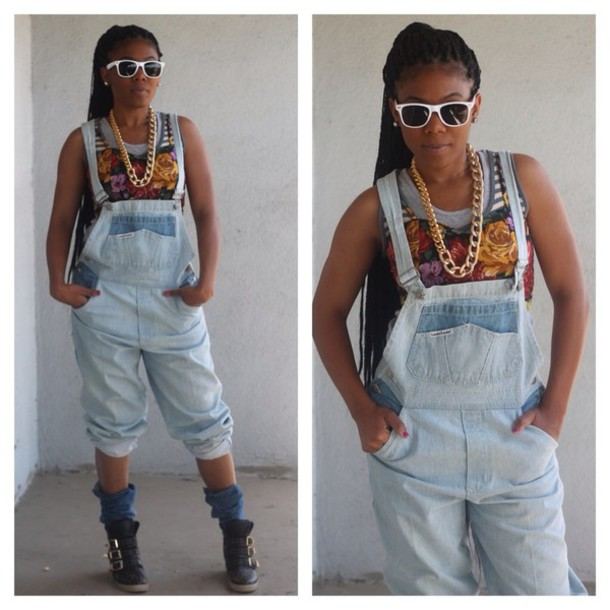 Jumpsuit denim 90s style overalls - Wheretoget
