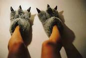 fluffy,slippers,lilo and stitch,shoes,dino,dragon,grey,black,dinosaur,pajamas,claws
