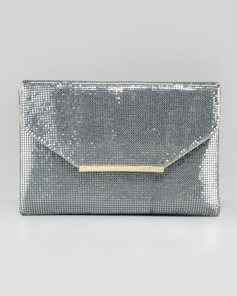 BCBGMAXAZRIA | Harlow Metallic Chainmail Envelope Clutch Bag, Pewter - CUSP