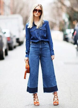 jeans denim culottes denim culottes blue jeans palazzo pants denim shirt shirt blue shirt bag brown bag sandals sandal heels high heel sandals lace up sandals sunglasses streetstyle spring outfits long sleeves