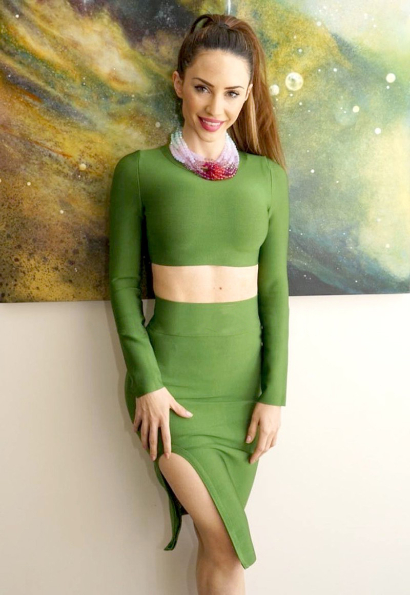 Long Sleeve Split Two Piece Bandage Set Green