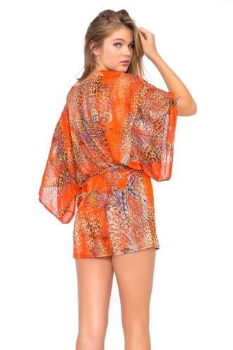 dress cover up luli fama luxury bikini luxe boho kimono kimono swimwear sauvage coverup orange bikiniluxe