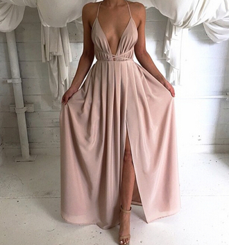 dress prom dress nude dress long dress chiffon dress v neck prom dress women party dress evening dress