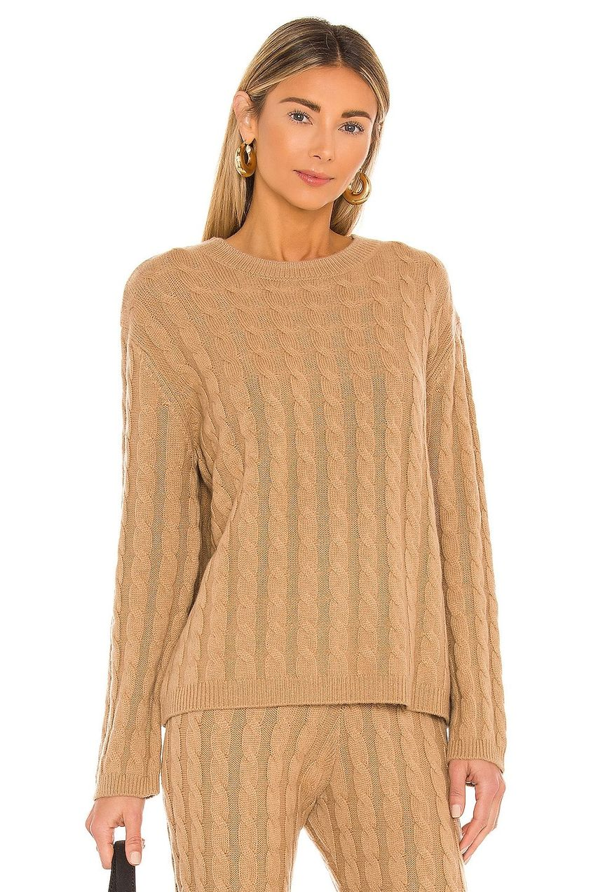 Cashmere Cable Knit Crew Sweater