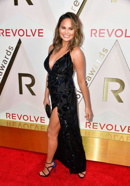 dress gown prom dress slit dress sandals chrissy teigen model off-duty maxi dress