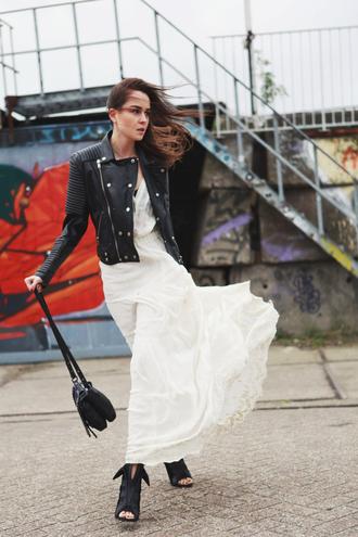 style scrapbook blogger bag boho leather jacket ankle boots peep toe boots long dress white dress jacket