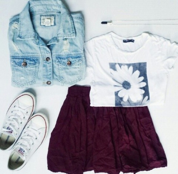 jacket denim jacket denim light blue burgundy daisy
