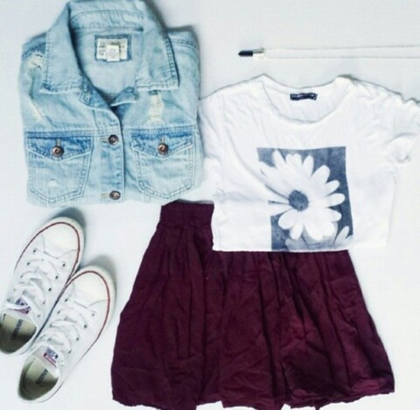 93d8fc231aca jacket denim light blue burgundy denim jacket daisy top skirt pleated skirt  converse hipster t-