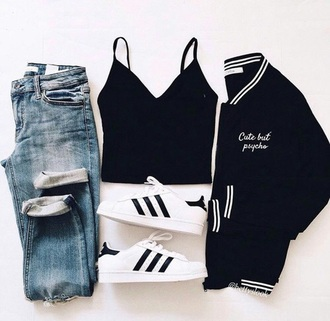 jeans crop-top baseball jacket blue jeans black crop top adidas superstars outfit outfit idea back to school straight jeans adidas shoes adidas black jacket jacket bomber jacket black bomber jacket